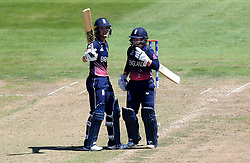 Sarah Taylor of England Women and Tammy Beaumont of England Women celebrate during their record partnership - Mandatory by-line: Robbie Stephenson/JMP - 05/07/2017 - CRICKET - County Ground - Bristol, United Kingdom - England Women v South Africa Women - ICC Women's World Cup Group Stage