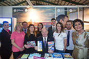 NO FEE PICTURES<br /> 23/1/16 Minister for Tourism Michael Ring and Maureen Ledwith, organiser of the Holiday World Show at the Discover Northern Ireland stand at the Holiday World Show at the RDS in Dublin. Picture: Arthur Carron