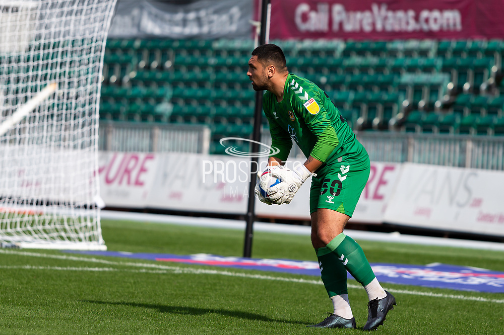 Newport County's Goalkeeper Nick Townsend (30) in action  during the EFL Sky Bet League 2 match between Newport County and Barrow at Rodney Parade, Newport, Wales on 19 September 2020.