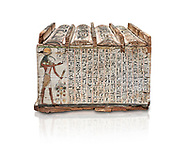 Ancient Egyptian shabti box, wood, Intermediate Period, 21st-22nd Dynasty (1076-746 BC), Thebes, Egyptian Museum, Turin. White background, <br /> <br /> Floor 1 room 10 of Museum - Among the 401 shabti found in this tomb were 36 overseerers, one for every 10 servants. These were maent to serve the deceased in the afterlife .<br /> <br /> If you prefer to buy from our ALAMY PHOTO LIBRARY  Collection visit : https://www.alamy.com/portfolio/paul-williams-funkystock/ancient-egyptian-art-artefacts.html  . Type -   Turin   - into the LOWER SEARCH WITHIN GALLERY box. Refine search by adding background colour, subject etc<br /> <br /> Visit our ANCIENT WORLD PHOTO COLLECTIONS for more photos to download or buy as wall art prints https://funkystock.photoshelter.com/gallery-collection/Ancient-World-Art-Antiquities-Historic-Sites-Pictures-Images-of/C00006u26yqSkDOM