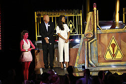 ANAHEIM, CA - MAY 25: (L-R) Chairman of Walt Disney Parks and Resorts, Bob Chapek, Zoe Saldana, attend Guardians for the Galaxy: Mission – BREAKOUT! Grand Opening Ceremony attraction on May 25, 2017 at the Disneyland Resort in Anaheim, California USA. Byline, credit, TV usage, web usage or link back must read SILVEXPHOTO.COM. Failure to byline correctly will incur double the agreed fee. Tel: +1 714 504 6870.
