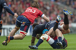 March 30, 2019 - Edinburgh, Scotland, United Kingdom - Viliam Mata of Edinburgh tackled by Tadgh Beirne of Munster during the Heineken Champions Cup Quarter Final match between Edinburgh Rugby and Munster Rugby at Murrayfield Stadium in Edinburgh, Scotland, United Kingdom on March 30, 2019  (Credit Image: © Andrew Surma/NurPhoto via ZUMA Press)