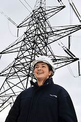Portrait of young female apprentice working for the National Grid, training to be an overhead cable technician.National Grid Apprentice, Eakring January 2012 UKRC