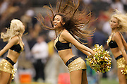 September 25, 2011; New Orleans, LA, USA; New Orleans Saintsations cheerleader performs during a timeout against the Houston Texans in the first half at the Louisiana Superdome. New Orleans defeated Houston 40-33. Mandatory Credit: Crystal LoGiudice-US PRESSWIRE
