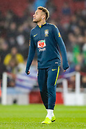 Brazil forward Neymar Jr (10) warms up prior to the Friendly International match between Brazil and Uruguay at the Emirates Stadium, London, England on 16 November 2018.