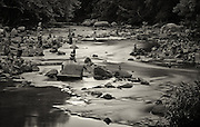 Rock stacking art in the Patapsco River at Ellicott City, Maryland