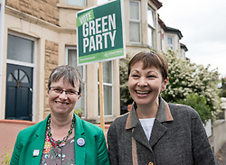 © Licensed to London News Pictures.  27/05/2017; Bristol, UK. General Election 2017; CAROLINE LUCAS and MOLLY SCOTT CATO campaign in their number one target seat, Bristol West where they hope to gain their second Green MP with candidate Molly Scott Cato (currently MEP for the south west of England). Picture credit : Simon Chapman/LNP