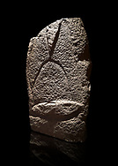 Late European Neolithic prehistoric Menhir standing stone with carvings on its face side. The representation of a stylalised male figure starts at the top with a long nose from which 2 eyebrows arch around the top of the stone. below this is a carving of a falling figure with head at the bottom and 2 curved arms encircling a body above. at the bottom is a carving of a dagger running horizontally across the menhir. Excavated from Cabamadau, Villa Sant' Antonia. Menhir Museum, Museo della Statuaria Prehistorica in Sardegna, Museum of Prehoistoric Sardinian Statues, Palazzo Aymerich, Laconi, Sardinia, Italy. Black background. .<br /> <br /> Visit our PREHISTORIC PLACES PHOTO COLLECTIONS for more photos to download or buy as prints https://funkystock.photoshelter.com/gallery-collection/Prehistoric-Neolithic-Sites-Art-Artefacts-Pictures-Photos/C0000tfxw63zrUT4