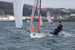 Day 1 of the RYA Youth National Championships 2013 held at Largs Sailing Club, Scotland from the 31st March - 5th April. .29er 2175, Dan VENABLES, Finn MURPHY, Sutton SC\..For Further Information Contact..Matt Carter.Racing Communications Officer.Royal Yachting Association.M: 07769 505203.E: matt.carter@rya.org.uk ..Image Credit Marc Turner / RYA..