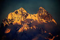 Russia, Caucasus, Mount Ushba (4710 m asl), just on the Georgian side of the border, just before sunset, seen from Elbrus.