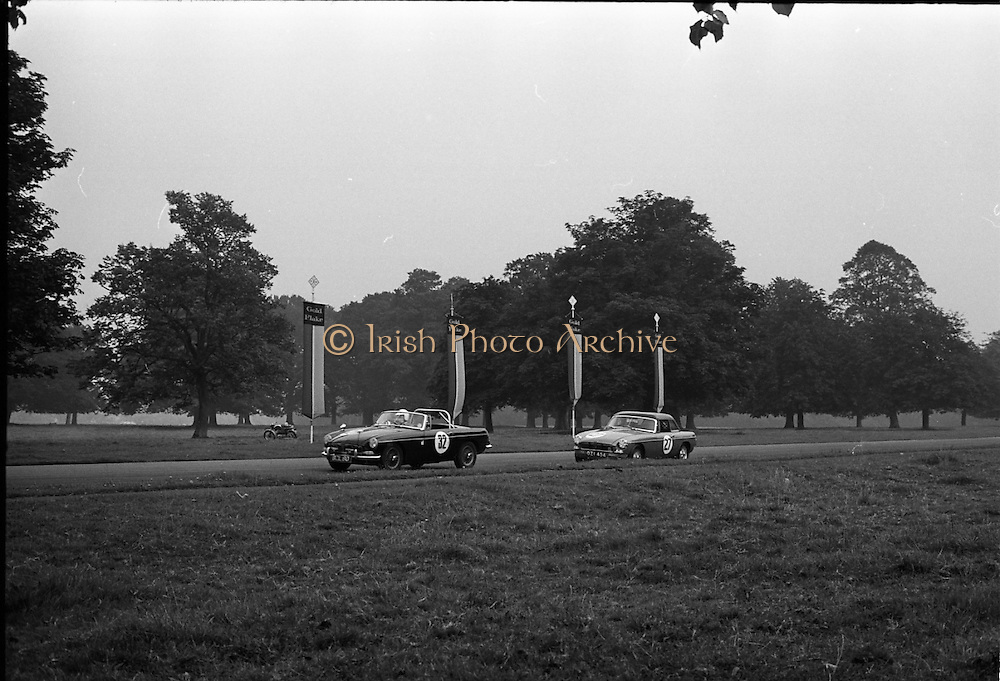 16/09/1967<br /> 09/16/1967<br /> 16 September 1967<br /> Phoenix Park Motor Racing, Kingsway Trophy Race, sponsored by Player and Wills (Ireland) Limited. Image shows J.B. O'Brien's M.G.B. (32) and K.J. Farrell's M.G.B. (27).