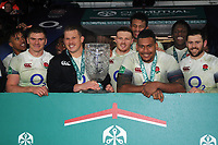 Rugby Union - 2017 Old Mutual Wealth Series (Autumn International) - England vs. Australia<br /> <br /> Captain Dylan Hartley and Nathan Hughes with the ' Cook Cup' , at Twickenham.<br /> <br /> COLORSPORT/ANDREW COWIE