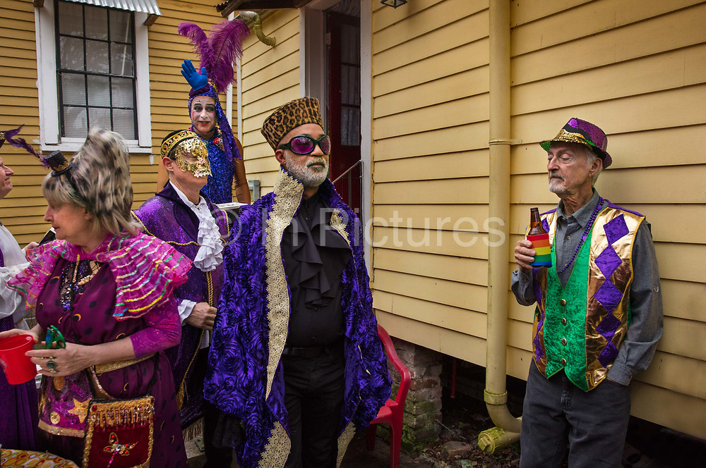 Lundi Gras party for the Krewe of of Saint Anne during Mardi Gras on 25th February 2020 in New Orleans, Louisiana, United States. Mardi Gras is the biggest celebration the city of New Orleans hosts every year. The magnificent, costumed, beaded and feathered party is laced with tradition and  having a good time. Celebrations are concentrated for about two weeks before and culminate on Fat Tuesday the day before Ash Wednesday and Lent.