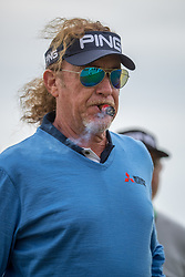 Miguel Angel Jimenez with one of his famous cigars waits to get his round underway during day three of the Senior Open at Old Course St Andrews.