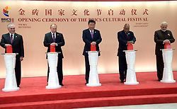 September 4, 2017 - Xiamen, China - September 4, 2017. - China, Xiamen. - Russian President Vladimir Putin at the opening ceremony of the BRICS Cultural Festival. From right: Indian Prime Minister Narendra Modi, South African President Jacob Zuma and Chinese President Xi Jinping. Left: Brazilian President Michel Temer. (Credit Image: © Russian Look via ZUMA Wire)