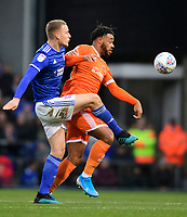 Blackpool's Joe Nuttall vies for possession with Ipswich Town's Luke Woolfenden<br /> <br /> Photographer Chris Vaughan/CameraSport<br /> <br /> The EFL Sky Bet League One - Ipswich Town v Blackpool - Saturday 23rd November 2019 - Portman Road - Ipswich<br /> <br /> World Copyright © 2019 CameraSport. All rights reserved. 43 Linden Ave. Countesthorpe. Leicester. England. LE8 5PG - Tel: +44 (0) 116 277 4147 - admin@camerasport.com - www.camerasport.com