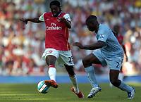 Photo: Olly Greenwood.<br />Arsenal v Manchester City. The FA Barclays Premiership. 25/08/2007. Arseal's Emmanuell Adebayor and Micha Richards