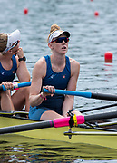 Poznan, POLAND, 21st June 2019, Friday, Morning Heats, USA1 W4-, Emily REGAN, FISA World Rowing Cup II, Malta Lake Course, © Peter SPURRIER/Intersport Images,<br /> <br /> 11:28:16