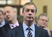 © Licensed to London News Pictures. 23/03/2013. Exeter, UK. Nigel Farage, Leader of UKIP, waits to make his keynote speech to the conference.  The UK Independence Party (UKIP) 2013 Spring Conference is held at the Great Hall, Exeter University today, Saturday 23rd March 2013. Support for the party is rising after success in the recent Eastleigh by-election, where UKIP came second behind the Liberal Democrats. Photo credit : Stephen Simpson/LNP