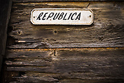 Sign indicating the name of the Republica street in Baracoa, Cuba on Monday July 14, 2008.