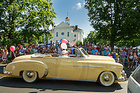 Folks lined the streets for the annual Gilmanton 4th of July parade on Thursday morning.   (Karen Bobotas/for the Laconia Daily Sun)