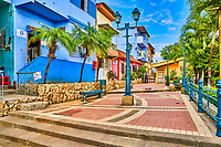 Guayaquil , Ecuador- March 7 , 2020 : colorful pedestrian street of Las Penas on santa Anna hill district landmark of Guayaquil  Ecuador in south america