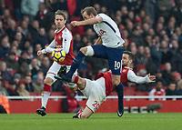 Football - 2017 / 2018 Premier League - Arsenal vs. Tottenham Hotspur<br /> <br /> Shkodran Mustafi (Arsenal FC) gets a foot in to prevent a Harry Kane (Tottenham FC)  break away at The Emirates.<br /> <br /> COLORSPORT/DANIEL BEARHAM