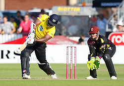 Gloucestershire's Thisara Perera<br /> <br /> Photographer Simon King/Replay Images<br /> <br /> Vitality Blast T20 - Round 1 - Somerset v Gloucestershire - Friday 6th July 2018 - Cooper Associates County Ground - Taunton<br /> <br /> World Copyright © Replay Images . All rights reserved. info@replayimages.co.uk - http://replayimages.co.uk