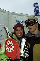 Snowboard, NM snøbrett halfpipe Geilo mars 2000. Stine Brun Kjeldaas og Terje Haakonsen.