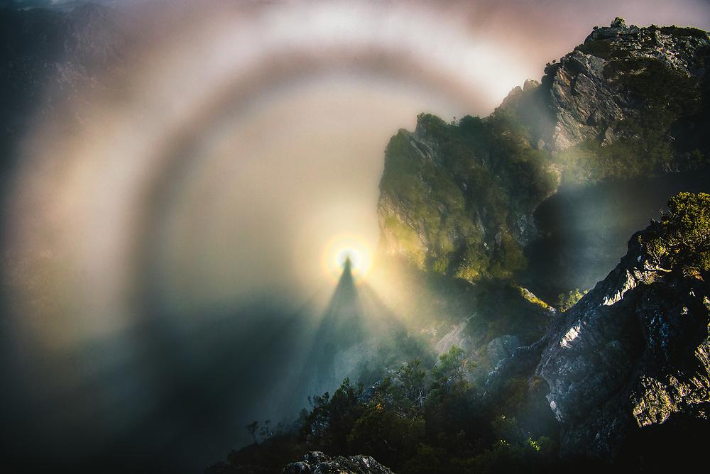 Brocken Spectre in in Western Arthurs Range, Tasmania