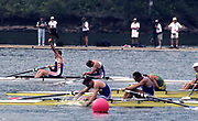 Atlanta, USA. GBR M2-, Olympic finalist and Gold Medalist, left, Matthew PINSENT and Steve REDGRAVE at the finish, as Pinsent celebrates their victory over AUS and FRA respectively, 1996 Olympic Rowing Regatta Lake Lanier, Georgia [Mandatory Credit Peter Spurrier/ Intersport Images]