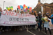Campaigners against the closure by Lambeth council  of Carnegie Library in Herne Hill, south London, start to march into Brixton after emerging from the premises on the 10th day of occupation, 9th April 2016. The local community have been occupying their important resource for learning and social hub and after a long campaign, Lambeth have gone ahead and closed the librarys doors for the last time because they say, cuts to their budget mean millions must be saved. They plan to re-purpose it into a gym although details are unknown.