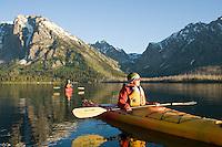 Kayaking on Jackson Lake. Grand Teton NP, WY
