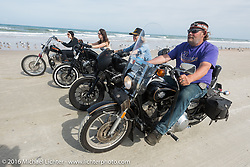 "Steve ""Slammer"" Egersdorf rides on Daytona Beach during Daytona Bike Week 75th Anniversary event. FL, USA. Thursday March 3, 2016.  Photography ©2016 Michael Lichter."