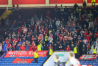 Olympiakos fans cheer their side on in the second half<br /> <br /> Photographer Alex Dodd/CameraSport<br /> <br /> UEFA Europa League - UEFA Europa League Qualifying Second Leg 2 - Burnley v Olympiakos - Thursday August 30th 2018 - Turf Moor - Burnley<br />  <br /> World Copyright © 2018 CameraSport. All rights reserved. 43 Linden Ave. Countesthorpe. Leicester. England. LE8 5PG - Tel: +44 (0) 116 277 4147 - admin@camerasport.com - www.camerasport.com