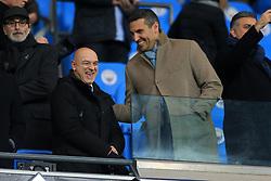 16th December 2017 - Premier League - Manchester City v Tottenham Hotspur - Spurs Chairman Daniel Levy (L) laughs with Man City chairman Khaldoon Al Mubarak - Photo: Simon Stacpoole / Offside.