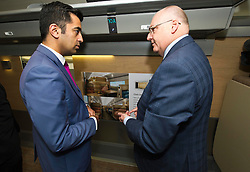 Pictured: Humza Yousaf and Peter Strachan, Caledonian Sleeper Managing Director<br /> Transport minister Humza Yousaf MSP headed to Broxburn today to view a mock-up of the lay-out of the new Caledonian Sleeper cars which will come into service in 2018. He met executives of Caledonian Sleeper and was shown round the carraige by Managing Director Peter Strachan<br /> <br /> (c) Ger Harley   Edinburgh Elite media