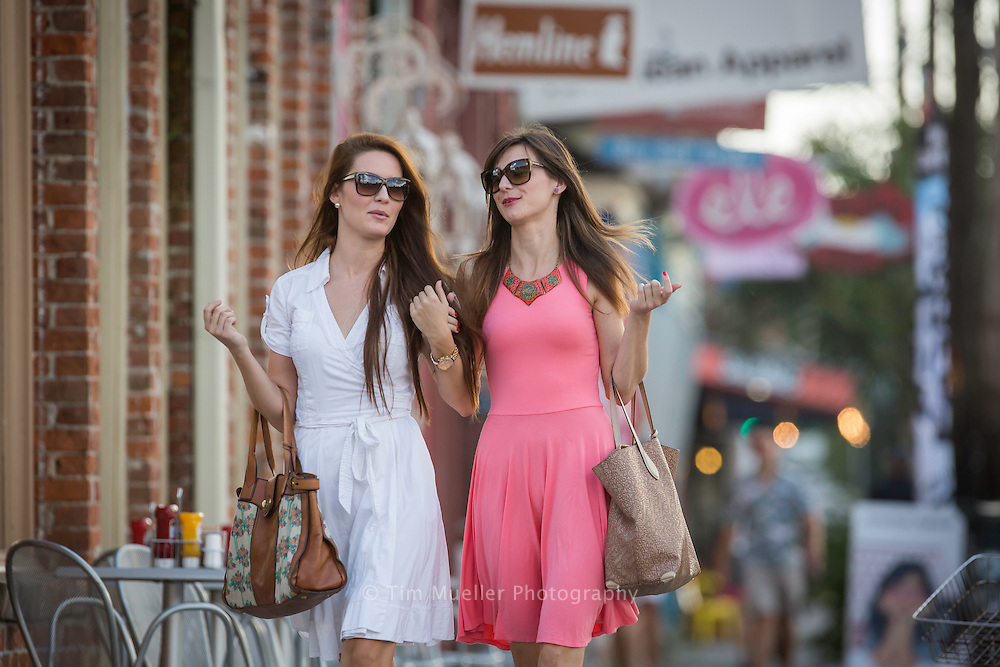 Friends ,from left, Neda Dragicevic and Miladinka Stopari shop along Magazine Street in New Orleans, La.