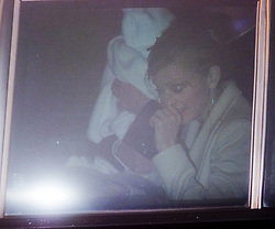 Madonna leaving the christeningof baby Rocco at Dornoch Cathedral in Scotland on the night of 12th December 2000.