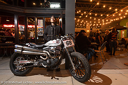 Shaun Guardado with his Harley-Davidson Hooligan racer at the Fuel Cafe Milwaukee during the Harley-Davidson 115th Anniversary Celebration event. Milwaukee, WI. USA. Thursday August 30, 2018. Photography ©2018 Michael Lichter.