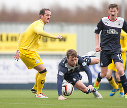 Queen of the South's Mark Kerr and Falkirk's Rory Loy.<br /> Half time : Falkirk 0 v 0 Queen of the South, Scottish Championship game today at the Falkirk Stadium.<br /> © Michael Schofield.