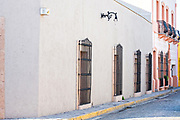 A traditional Spanish colonial style building in the Barrio Antiguo or Spanish Quarter neighborhood adjacent to the Macroplaza Grand Plaza in Monterrey, Nuevo Leon, Mexico.