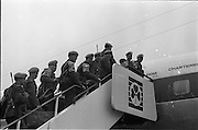 17/04/1966<br /> 04/17/1966<br /> 17 April 1966<br /> Irish troops leave for United Nations duty in Cyprus from Dublin Airport. The remainder of the 6th Infantry Group, replacing the 5th Infantry Group left Dublin by special aircraft to fly direct to Cyprus. Picture shows some of the troops boarding the plane at DAP.