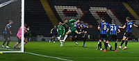 Sheffield Wednesday's Liam Shaw's close range shot went wide <br /> <br /> Photographer Dave Howarth/CameraSport<br /> <br /> Carabao Cup Second Round Northern Section - Rochdale v Sheffield Wednesday - Tuesday 15th September 2020 - Spotland Stadium - Rochdale<br />  <br /> World Copyright © 2020 CameraSport. All rights reserved. 43 Linden Ave. Countesthorpe. Leicester. England. LE8 5PG - Tel: +44 (0) 116 277 4147 - admin@camerasport.com - www.camerasport.com