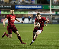 Munster's Stephen Fitzgerald makes a break<br /> <br /> Photographer Simon King/Replay Images<br /> <br /> Guinness PRO14 Round 15 - Cardiff Blues v Munster - Saturday 17th February 2018 - Cardiff Arms Park - Cardiff<br /> <br /> World Copyright © Replay Images . All rights reserved. info@replayimages.co.uk - http://replayimages.co.uk