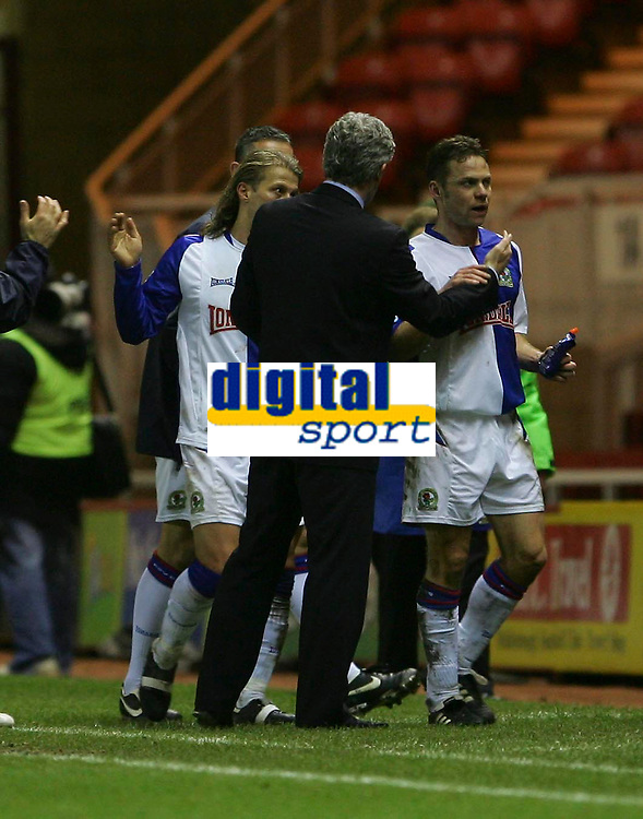 Photo: Andrew Unwin.<br /> Middlesbrough v Blackburn Rovers. Carling Cup. 21/12/2005.<br /> Blackburn's manager, Mark Hughes (L), with Paul Dickov (R) at the end of the game.