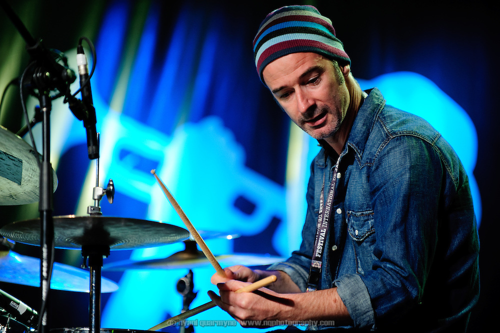 Drummer Evan Jenkins of the UK's Neil Cowley Trio at the Montreal Jazz Festival in Montreal, Canada on 8 July 2009.