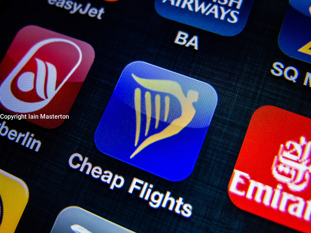 detail of Ryanair airline app icon on iPhone screen