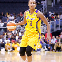 17 June 2014: Los Angeles Sparks forward Farhiya Abdi (13) dribbles during the Minnesota Lynx  94-77 victory over the Los Angeles Sparks, at the Staples Center, Los Angeles, California, USA.