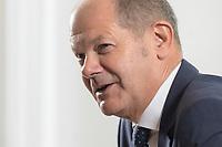 28 AUG 2020, BERLIN/GERMANY:<br /> Olaf Scholz, SPD, Bundesfinanzminister, waehrend einem Interview, Bundesministerium der Finanzen<br /> IMAGE: 20200828-01-010